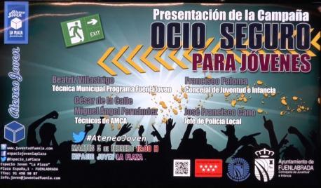 Cartel del evento con el nombre de los ponentes y el horario