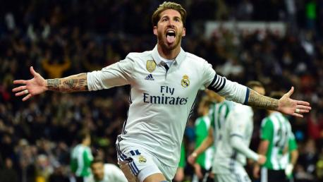Sergio Ramos celebrando un gol.
