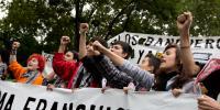 Huelga de estudiantes contra los recortes en educación.