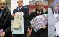Bersani, Berlusconi, Monti y Grillo